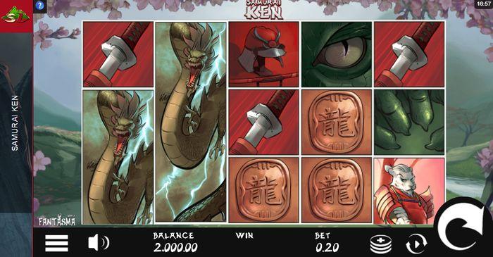 play samurai ken slot: starting screen