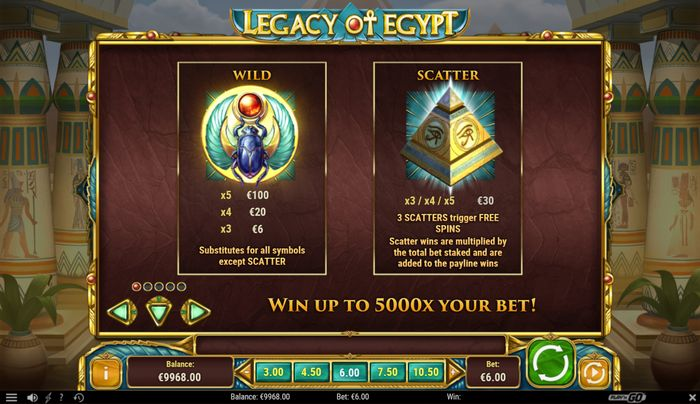 legacy of egypt slot: scatterand wild symbol